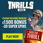 Thrills Casino | 20 free spins NDB and €1500 bonus | Free play!