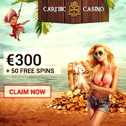 Caribic Casino 50 free spins NDB   100 gratis spins   €300 bonus