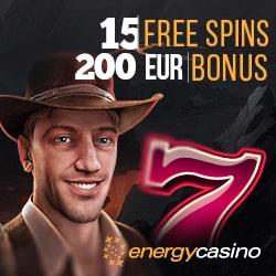 Energy Casino 15 gratis spins   150% up to €400 bonus   55 free spins