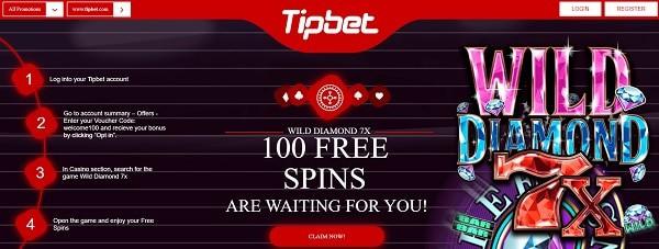 100 free spins bonus to Tipbet