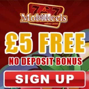 Mobireels Casino | £5 NDB plus 50 free spins & 350% bonus
