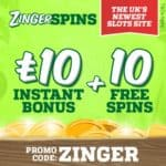 Zinger Spins Casino | £10 gratis and 10 free spins | PC & Mobile