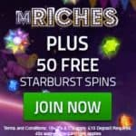mRiches Casino – 50 gratis spins and 350% free bonus – bet for fee!
