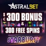 AstralBet – 300 gratis spins and €300 casino bonus – online & mobile