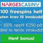 Norges Casino 100 free spins ingen innskudd bonus for nordmenn