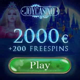 Joy Casino - 2000€ free cash and 200 free spins - no deposit bonus