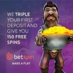 Betspin Casino   150 free spins   €400 free bonus   online & mobile