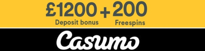 Casumo Casino 200 gratis spins and €1200 welcome bonus