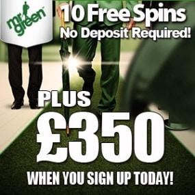 MrGreen Casino 10 free spins (no deposit) and €350 welcome bonus