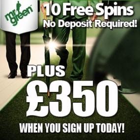 MrGreen Casino 10 free spins (no deposit) and €350 welcome bonus