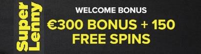 SuperLenny Casino €300 bonus and 150 free spins