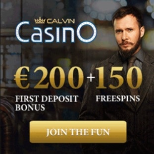 Calvin Casino 150 free spins plus 150% up to €600 welcome bonus
