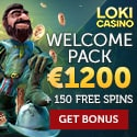 Loki Casino 150 free spins and 300% up to €1,200 free bonus