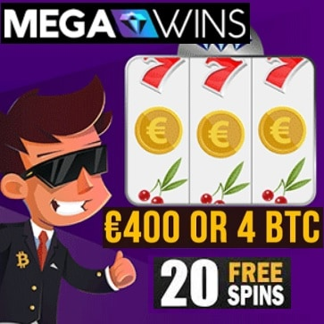 Mega Wins Casino 20 no deposit free spins plus 200% up to €400 or 4 BTC welcome bonus