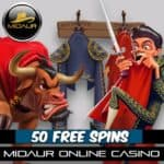Midaur Casino 50 gratis spins and 100% up to £200 exclusive bonus