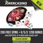 Joker Casino | 10 FS no deposit   €1200 free bonus   200 gratis spins