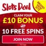 Slots Devil Casino | £10 bonus and 10 free spins | UK slot games