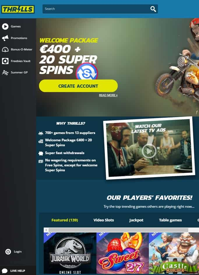 Thrills Casino Review