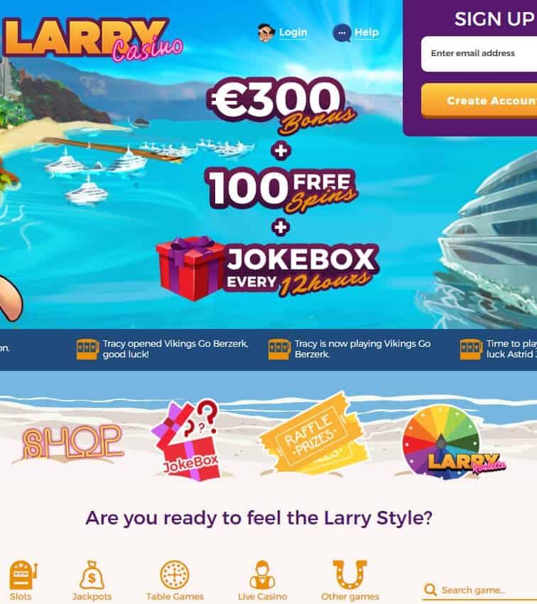 LarryCasino.com free spins bonus