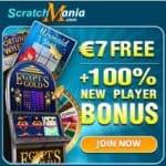 ScratchMania Casino | 7€ no deposit + 100% up to €200 free bonus