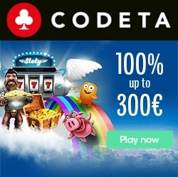 Codeta Casino 100% up to €300 bonus   10% cashback   free spins