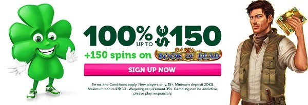 150 free spins + 100% up to 150 EUR bonus