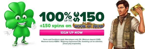 150 free spins + 100% up to 150 EUR bonus