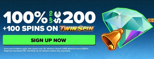 100 free spins on Twin Spin