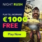 NightRush Casino €5 free spins + 150% up to €1000 match bonus