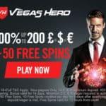 Vegas Hero Casino 50 gratis spins and €/£/$1,000 free bonus