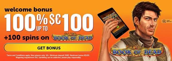 Wild Slots Casino 100 free spins and 100% bonus on deposit