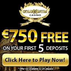 Colosseum Casino 200 free spins   $/€750 in free bonus chips