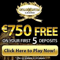 Colosseum Casino 200 free spins + $/€750 in free bonus chips
