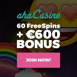 Aha Casino 100 free spins and 100% up to €/£/$300 freebonus