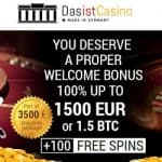 Das Ist Casino 250 free spins   3.5 bitcoins or €1500 free bonus