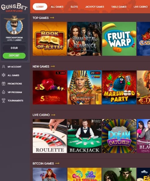 gunsbet casino no deposit bonus