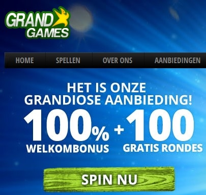 Grand Games Casino (Belgium) 100 free spins   €200 gratis bonus