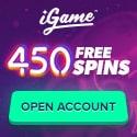 iGame Casino 450 free spins no deposit bonus