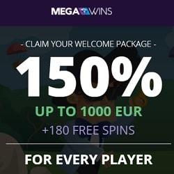 MegaWins Casino (Direx N.V.) 180 free spins and $/€1,000 free bonus