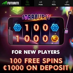 Futuriti Casino 100 Starburst free spins or 200% up to €2,000 bonus