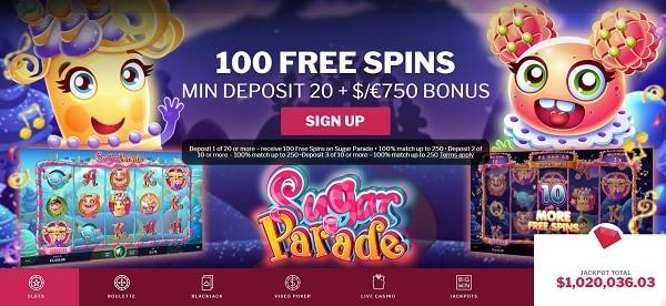 €750 welcome bonus + 100 Free Spins