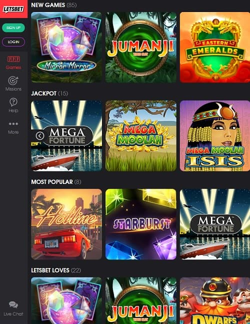Letsbet Casino Online and Mobile
