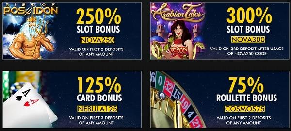 Super Nova Casino bonuses