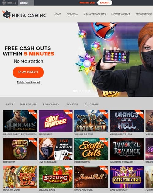 Ninja Casino no account playing - Trustly