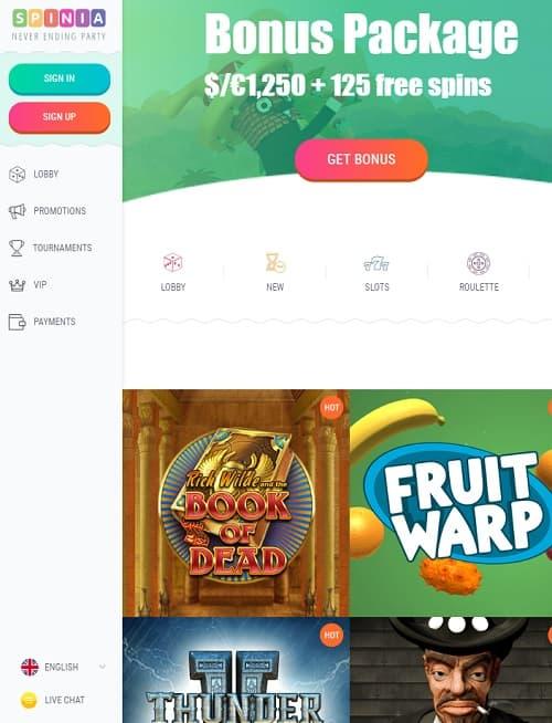 Spinia Casino Review