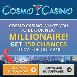 Cosmo Casino 150 free spins on Mega Moolah for only €10 deposit
