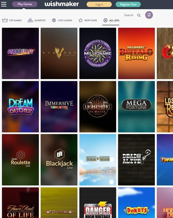 Wishmaker Casino free play games
