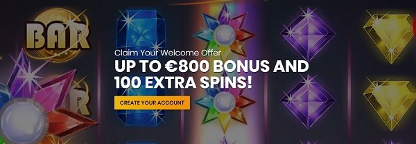 Casiplay Casino 100 extra spins and 800 EUR welcome bonus
