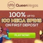 Queen Vegas Casino 100% welcome bonus + 100 gratis spins