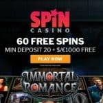 Spin Casino 60 gratis spins and 300% up to €1000 free bonus